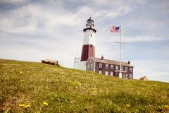 Panoramablick auf Montauk-Punkt-Nationalpark-Leuchtturm und dem Atlantik Long Island, Staat New York lizenzfreie stockfotos