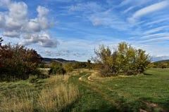 Panoramablick auf ungebildeter Ackerlandlandschaft Lizenzfreie Stockfotos