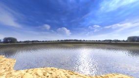 Panoramablick 3D von einem See mit blauem Himmel und Wolken