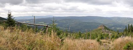 Panoramablick der Berge Jeseniky, Tschechische Republik, Europa Stockfotos