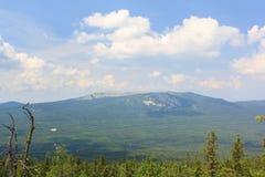 Panoramablick der Berge und der Klippen, Süd-Ural Sommer in den Bergen Ansicht von den Bergen Die Beschaffenheit des Souther Stockfotografie
