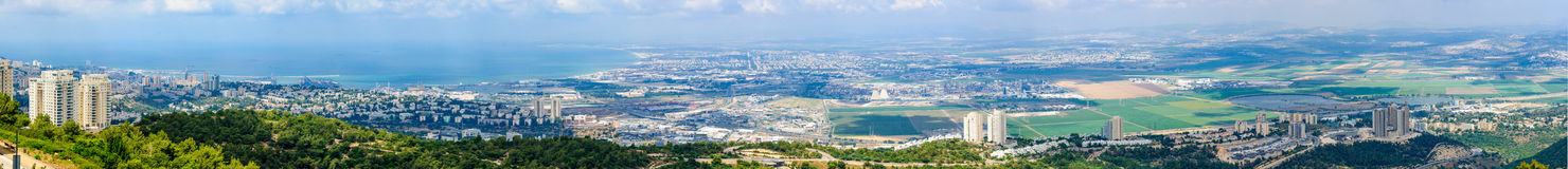 Panoramablick der Bucht von Haifa lizenzfreie stockfotografie