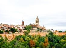Panoramablick der historischen Stadt von Segovia, Spanien Stockfoto