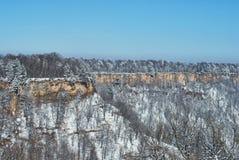 Panoramablick der Klippen Im Vordergrund ein schneebedeckter Wald, im Hintergrund - blauer Himmel Lago-Naki, der Hauptkaukasier R stockfoto