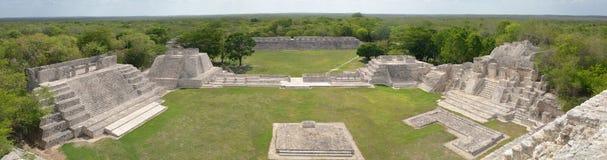 Panoramablick der Mayapyramiden Edzna. Yucatan. stockfotografie