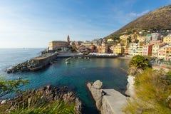 Panoramablick der Stelle von Nervi in Genua stockfoto