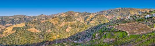 Panoramablick der typischen Landschaft des Dueros, im Norden von Portugal stockbilder