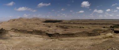 Panoramablick der Wüste von Ait Benhaddou, Marokko Stockbild