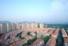 Panoramablick der Wohnungen Stockfotografie