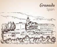 Panoramablick des Alhambras mit Sierra Nevada im backgro lizenzfreie abbildung