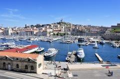 Panoramablick des alten Hafens von Marseille, Frankreich Stockbilder