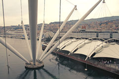 Panoramablick des antiken Hafens in Italien Stockbild