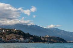 Panoramablick des berühmten Schlosses von Platamon, Platamonas-vill lizenzfreie stockfotografie