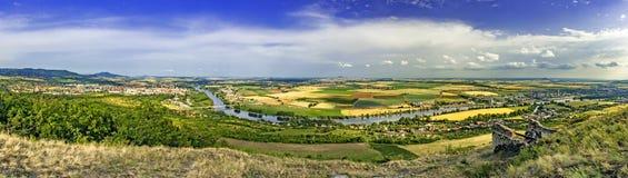 Panoramablick des Berges Radobyl Stockbilder