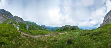 Panoramablick des Bergs Ciucas auf Sommer Stockfotos