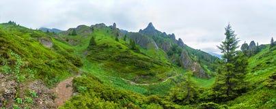 Panoramablick des Bergs Ciucas auf Sommer Stockbilder