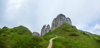 Panoramablick des Bergs Ciucas auf Sommer mit Felsformationen Stockbilder