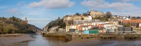 Panoramablick des Clifton Suspension Bridge- und Clifton-Bereichs von Bristol lizenzfreies stockfoto