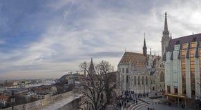 Panoramablick des Fischer ` s BastionBuda Schlosses stockfoto