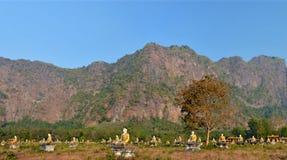 Panoramablick des Gartens von tausend Buddhas in Hpa-An, Stockfoto