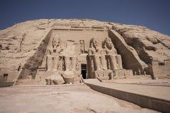 Panoramablick des großen Tempels von Ramses II in Abu Simbel, Ägypten Stockfoto