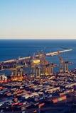 Panoramablick des Hafens in Barcelona stockbilder
