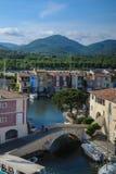 Panoramablick des Hafens Grimaud, Frankreich Lizenzfreies Stockbild