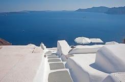 Panoramablick des Kessels mit Dachspitzen Santorini, Griechenland Lizenzfreies Stockbild