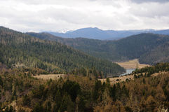 Panoramablick des Meili-Schneeberges und -sees Stockfotografie