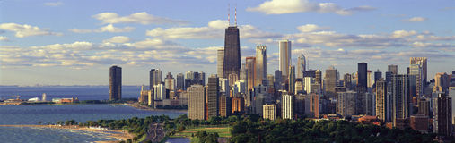 Panoramablick des Michigansees und des Lincoln Parks, Chicago, IL Stockfotos
