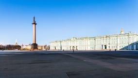 Panoramablick des Morgens des Palast-Quadrats im März Lizenzfreies Stockfoto