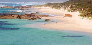 Panoramablick des Strandes und des Ozeans, Dänemark, Australien Lizenzfreie Stockbilder