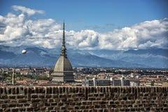 Panoramablick des Turin-Stadtzentrums, in Italien Stockfotografie
