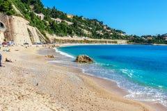 Panoramablick des Villefranche-sur-Mer, Nizza, französisches Riviera Lizenzfreies Stockfoto