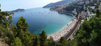 Panoramablick des Villefranche-sur-Mer (Taubenschlag d'Azur) Lizenzfreie Stockfotografie
