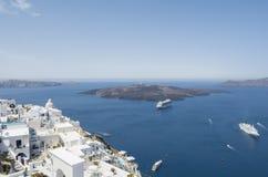 Panoramablick des Vulkans vom Kessel bei Fira Santorini Insel, Griechenland Lizenzfreie Stockfotografie