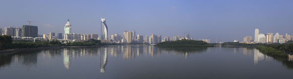 Panoramablick des yuandang Sees Stockfotos