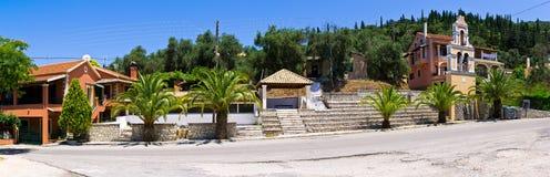 Panoramablick im alten Dorf - Klimatia, Korfu, Griechenland lizenzfreie stockbilder