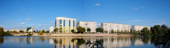Panoramablick Komsomolsk Gorishnii Plavni lizenzfreie stockfotografie