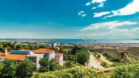 Panoramablick Timelapse von Saloniki-Stadt an einem sonnigen Tag, GR Lizenzfreies Stockbild