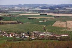 Panoramablick vom Ausblickturm Margarita auf der Stadt Dlazov, böhmischer Wald, Tschechische Republik Stockbild