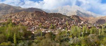 Panoramablick von Abyaneh-Dorf, Isfahan-Provinz, der Iran Lizenzfreies Stockbild