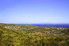 Panoramablick von Aegina-Insel Stockfoto
