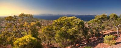 Panoramablick von Aegina-Insel, Griechenland Stockfotografie