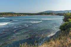 Panoramablick von Arapya-Strand nahe Stadt von Tsarevo, Bulgarien Stockfoto