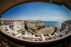 Panoramablick von Aristotelous, Saloniki Griechenland Lizenzfreie Stockfotos