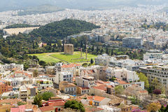 Panoramablick von Athen von der Akropolise, Griechenland Lizenzfreies Stockbild