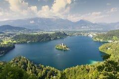 Panoramablick von ausgeblutetem See, Slowenien, Europa Stockbild