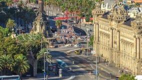 Panoramablick von Barcelona-Stadt vom Berg-Montjuic-timelapse stock footage