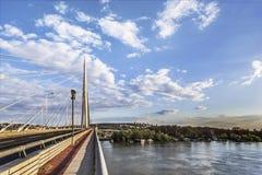 Panoramablick von Belgrads Brücke über Ada Stockbild